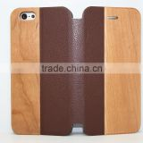 In store premium flip stand wood skin leather cover for Apple iphone 6/6s
