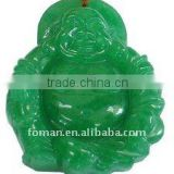 50mm green jade carving smiling buddha pendant
