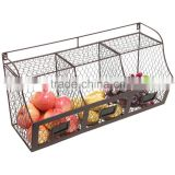 Icegreen Metal Wire Wall Mounted Hanging Fruit Storage Container/ Organizer/Rack, 3 Baskets