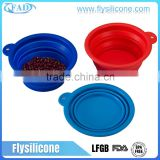 China Factory OEM Stocks Feature & Brand Label Silicone Collapsible Infrared Pet Bowl
