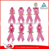awareness ribbon bow with pin/breast cancer satin awareness ribbon