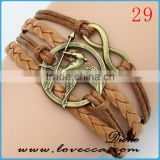 wholesale products alloy charm Family Gift Heart Love truth Crystal Charm Handmade Leather Bracelets