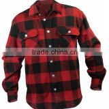 2015 new fashion Customed mens red black check long sleeve thick flannel shirts