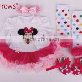 Kids Christmas Suits New Infant 4pcs Christmas Clothes Santa Girl Bodysuits Christmas Mickey Sets Baby Girl Clothes
