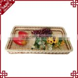 Environmently Supermarket plastic synthetic rattan fruit display tray