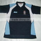 Mens custom100% polyester coolmax navy blue , sky blue and white cut and sewn panels embroidered v neck technical shirt