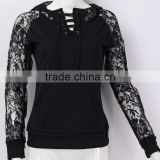 Sexy Casual Hoody Pullover 2016 Autumn Women Lace Long Sleeve Hoodies Solid Black Sweatshirts Ladies Leisure Tops Blusas