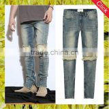 New model men's distressed urban star biker denim jeans pants men slimming skinny used motocycle jeans