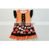 Halloween Costumes Wholesale Girls Cotton Frock Designs Pumpkin Patterns Halloween Boutique Dresses