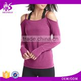 Guangzhou Shandao Wholesale Long Sleeve Off Shoulder Back Unique Design organic yoga clothing