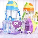 Child water bottle with straw Portable bottle with landyard