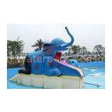 Outdoor Family Entertainment Small Elephant Slide, Fiberglass Water Pool Slides For Kids