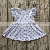 2017 New summer baby flutter dresses black dot cotton kids back to school outfit children white dresses clothes
