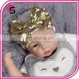 Good quality cute fashion design sequins bow baby cotton caps