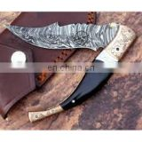 wholesale Damascus knifes -Damascus Folding Knife white bone hand made pakistan danascus knife