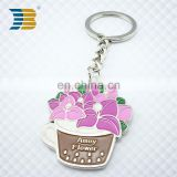 flower basket shaped key chain custom metal keychain