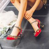 W2Embroidered water drill hollow bird cage high heel banquet sandals