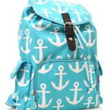 waterproof blue backpack with full printed fabric