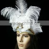 Magnificent White Feather Carnival Princess headdress