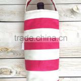 Pink Stripes Wine Tote Bag, Wine Carrier, Wine Gift Bag, Canvas Wine Tote, Beverage Carrier