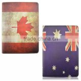 AU CA Flag Design Wallet Leather Case For iPad Air 2 360 Degree Rotating Flip Leather Case For iPad Air 2 TB-0326