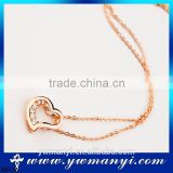 Wholesale Sweet noble fashion Beautiful women accessories jewelry hollow heart diamond gold necklace N0158