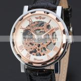 2016 Fashion Skeleton WINNER Brand Classic Design Business Leather Sport Men Mechanical Hand Wind Wrist Army Luury Army Watch