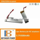 Wholesale price, rechargeable 3.7V500mah lipo battery for remote control helicopter, rc helicopter batteries