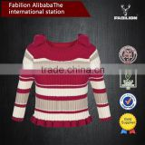 new spring collar butterfly stripes five points sleeve knitted sweater for woman clothes 2015