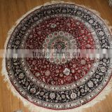 persian iranian kashmir turkish round silk carpets, round silk rugs factory in guangzhou