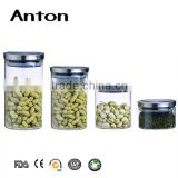 Wholesale different size round glass storage jars for kitchen and glass bottle with metal lid