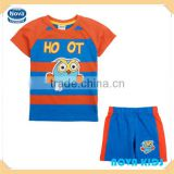 Fashion nova brand ready to ship summer children boys clothes set with print bird (CD4398) 2-6Y
