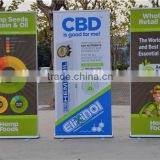 outdoor bamboo screen banner stand with spring and heavy iron foot