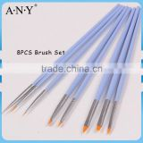 ANY Professional Nail Art Design Painting Wood Handle 8PCS Applicator Nail Art Design Brush Set
