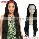 Cheap hot sale heat reasistant fiber tight roots lace front box braid wig, baby hair african braided wig for black women