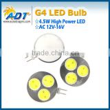 Best seller G4 1.5W*3 High Power SMD LED Cabinet Marine Boat Light Bulb Lamp White 12v-16v AC 180LM