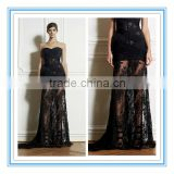 Fashion Black Sexy Lace Evening Dress Hot Strapless Sheath See Through Cocktail Dress Evening (EVZU-1007)
