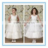 Sleeveless Pleated Organza Satin Lace Hand-Beaded One Strap White Flower Girl Dress(FLMO-3042)