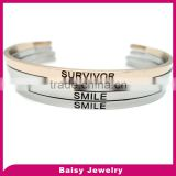 factory price custom plain engraved stainless steel cuff bangle modern ladies fashion jewelry