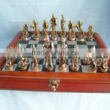 2015 Bronze soldier chess set with wooden board                                                                         Quality Choice