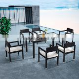 Strong aluminum outdoor banquet dining table and rattan dining chair with cushion set