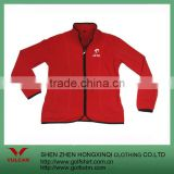 Women's red color polar fleece jacket with customize embroidery logo