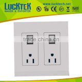 2 * gangs American Power with USB wall Socket outlet with switch,wall plate faceplate ,wall mount power socket