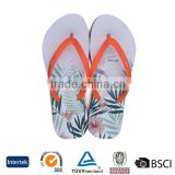 2016 low price cheap fashion trend customize leaf printed white sole girls nude beach flip flops