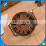 WLW027 High quality Luxury Women Watch 2016 New Fashion Casual Watch Popular Style Wood Grain Print Like Analog Quartz Watch