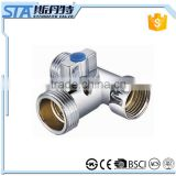 ART.3013 Sand blast and chrome plated npt/bsp M/M/F threaded forged brass water angle ball valve for washing machines basins