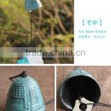 Japanese Furin Wind Chime Nambu Cast Iron Green Temple Bell