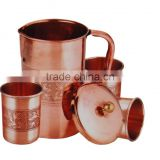 Drinking Water Copper Mugs Set Indian Ayurveda Copper Pitcher Mug