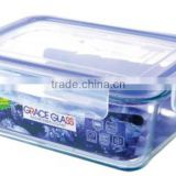 hot sale 900ml cheap price high borosilicate glass microwave/lock and lock food storage/lock & lock food storage containers