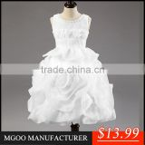 MGOO 2015 New Coming White Infant Dress For Girl Ball Gown Flowers Gorgeous Elegant Kids Dress MGT013-1